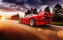 Ferrari F40 красный суперкар на высокой скорости
