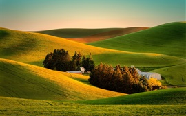 Preview wallpaper Fields, house, farm, nature, sunset
