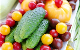 Preview wallpaper Food, vegetables, cucumber, tomato