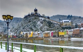 Preview wallpaper Germany, castle, fort, winter, house, river, snow