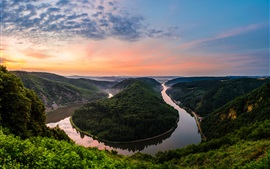 Germany, natural park, resort, river meander, sunset
