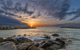 Preview wallpaper Gruissan, France, sunrise, rocks, sea, clouds