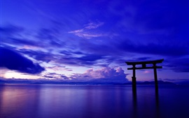 Preview wallpaper Japan, ocean, sky, clouds, gate, torii, dusk