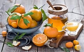 Kumquats, agrumes, fruits, orange, miel, jus