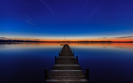Preview wallpaper Lake Starnberg, Bavaria, Germany, sunset, pier
