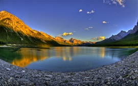 Preview wallpaper Lake, mountain, sunset, Canada