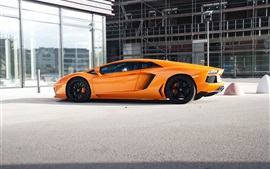 Preview wallpaper Lamborghini Aventador LP700-4 orange supercar side view
