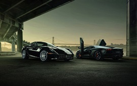 Preview wallpaper Lamborghini Aventador and Ferrari 599 GTB supercars