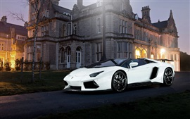 Lamborghini Aventador white supercar, night, house, lights