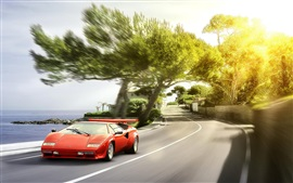 Preview wallpaper Lamborghini red supercar front view, sun glare