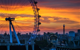 Preview wallpaper London, England, Ferris wheel, sunset, city, house