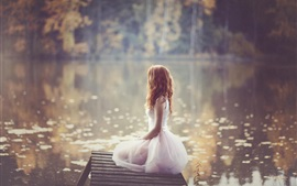 Lonely girl, white dress, lakeside