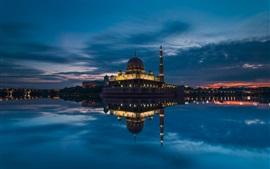 Malásia, Putrajaya, mesquita, estreito, noite, céu, nuvens