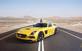 Preview wallpaper Mercedes-Benz AMG SLS supercar, yellow car