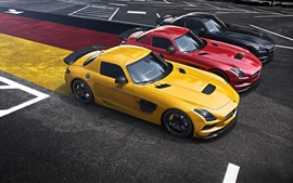 Preview wallpaper Mercedes-Benz AMG SLS supercar, yellow, red, black