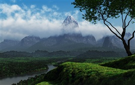 Naturaleza, montañas, árboles, río, verde, nubes, colinas