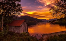 Norway, nature landscape, lake, sunset, trees, wood house