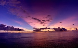 Preview wallpaper Pacific Ocean, evening, sunset, sky, clouds