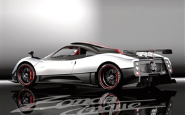 Preview wallpaper Pagani Zonda white supercar back view