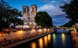 Preview wallpaper Paris, France, Notre Dame de Paris, city, night, bridge, river, lights