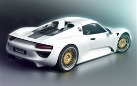Preview wallpaper Porsche 918 white supercar back view