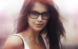 Портрет, очки, волосы летать, девушка