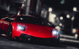 Preview wallpaper Red Lamborghini supercar front view, city night