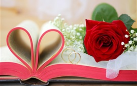 Preview wallpaper Red flowers, roses, Valentine's Day, book, love hearts, rings