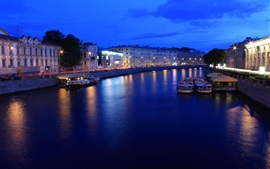 Preview wallpaper St. Petersburg, Russia, night, lights, river, boats, houses