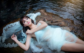 Preview wallpaper Stones, stream, beautiful girl, white dress