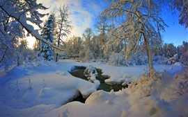 Preview wallpaper Thick snow winter, trees, river, dusk