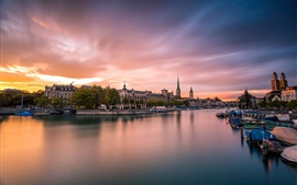 Zurich, Switzerland, city, evening, sunset, houses, river, bridge, boats