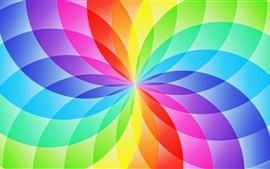 Projeto abstrato, setor de círculo, flor, arco-íris