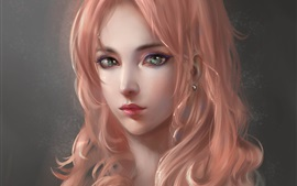 Art fantasy girl, portrait, pink hair
