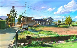 Preview wallpaper Art painting, Japan, landscape, village
