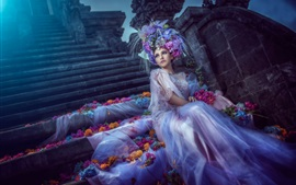 Preview wallpaper Art pictures, fantasy girl, bride, white dress, flowers, petals, moonlight