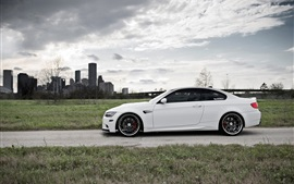 Preview wallpaper BMW E92 M3 white car side view