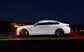 Preview wallpaper BMW M4 coupe F82 white car side view