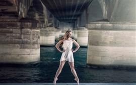 Preview wallpaper Beautiful girl, ballerina, grace, bridge