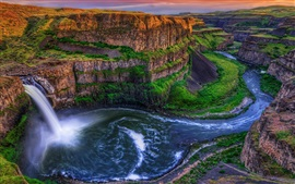 Beautiful landscape, top view, waterfall, river, rocks, sky, dusk Wallpapers Pictures Photos Images