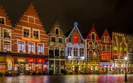 Belgium, Bruges, Grote Markt square, night, lights, house, Christmas