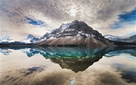 Preview wallpaper Bow Lake, Alberta, Canada, clouds, water reflection