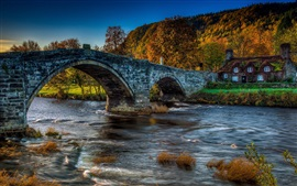 Preview wallpaper Bridge, house, river, autumn, forest