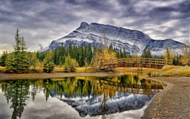 Preview wallpaper Cascade Ponds, Banff National Park, Canada, trees, bridge, mountains