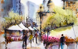 City, March, spring, people, house, watercolor