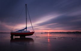 Preview wallpaper Coast, boat, sea, beach, evening, sunset