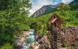 Preview wallpaper Colorado, water mill, river, forest, trees, mountains