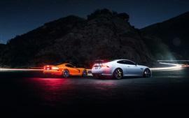 Dodge Viper, Jaguar XKR, supercar, noche, carretera, luz
