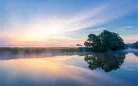 Англия, графство Вустершир, река Эйвон, туман, утро, лето