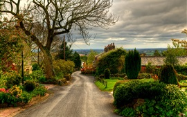 Preview wallpaper England, Horwich town, road, trees, houses